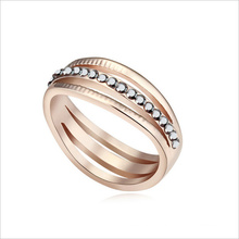 VAGULA Gold Rhinestone Mix Color Zinc Alloy Wedding Ring