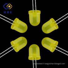 Haute qualité usine 10mm jaune diffus oval dip led