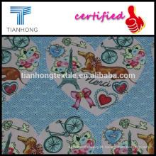 ação de Graças de personagem bonito dos desenhos animados impresso tecido de cetim de algodão para vestuário