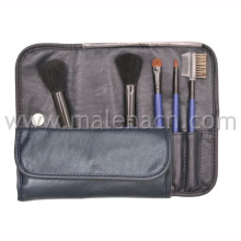 5PCS Make-up Cosmetic Brush with Black Leather Bag