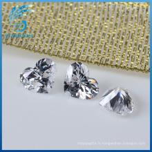 Haute qualité excellente coupe bien polie forme de coeur pierres cubiques zircone
