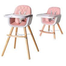 Cadeira alta de madeira ajustável para bebê para criança
