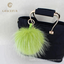 Customized supplier designer big fur fluffy ball keychain pendant