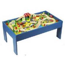 Table de train en bois multi-activités pour jouet de train