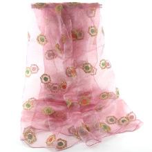 La flor barata del brillo del vendedor caliente borda el chal del mantón del organza de la bufanda del organza del oeste