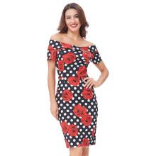 Белль некоторые из них имеют короткий рукав с бедра-завернутый плечо винтажный Ретро 50-х годов Цветочный Принт лето карандаш покачиваться платье США 2~16 BP000117-5