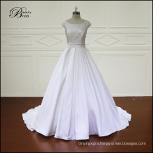 Wedding Dress Satin Wedding Grown   Embroidery Beading Bridal Dress