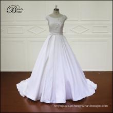 Casamento vestido cetim casamento crescido bordado perolização vestido nupcial