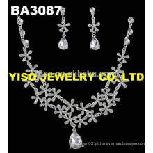Conjunto de jóias de casamento de cristal claro