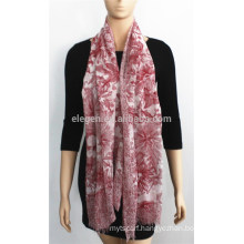 Red Flower Printed Cotton Scarf
