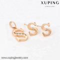 64023 fashion wholesale china cheap 18k delicate letter type white diamond gold plated jewelry ses