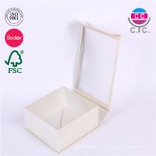caja de papel de rectángulo blanco de alta calidad con ventana transparente
