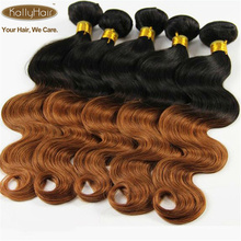 Vente chaude Brésilien Ombre Vierge de Cheveux Humains Deux Tons Noir à Doré Blonde Corps Vague Ondulés Extensions de Cheveux Humains 100g / pc