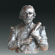 Statue de grande figure Dramatiste Shakespeare Bronze Sculpture Tpls-085