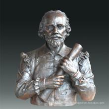 Большая фигура Драматург статуи Шекспир Бронзовая скульптура Tpls-085