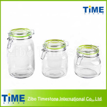 Juego de 3PCS recipiente de vidrio redondo con tapa de vidrio clip