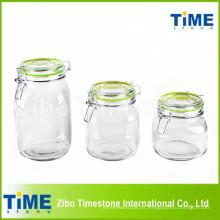 Juego de 3 piezas de recipiente de vidrio redondo con tapa de vidrio con clip