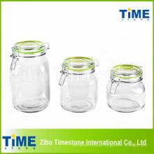 Conjunto de vasilha de vidro redonda 3PCS com tampa de vidro Clip