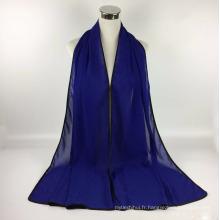 Nouveau style populaire musulman long mousseline de soie solide femmes hijab écharpe