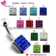 Mode bijoux en cristal en acier inoxydable oreille earcing piercing anneau