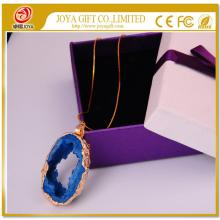 Blue Crystal pendant plated 18K Gold Gemstone Necklace