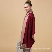 Personnalisé solide pur café et vin ren cashmere écharpe en laine tricotée 70 * 200cm