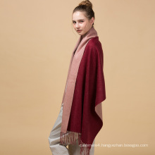 Customized solid pure coffee and wine ren cashmere knitted wool scarf 70*200cm