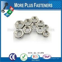 Taïwan Acier inoxydable 18-8 Cuivre Laiton Aluminium Cuivré Hex Écrou mince Écrou hexagonal à couple précoce Ecrou hexagonal en acier inoxydable A4-80