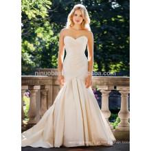 NA1014 Frete grátis Mermaid Sweetheart Sweep Train Vestido de noiva em cetim de cetim plissado