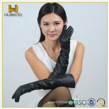 ladies sheepskin gloves black elbow length women long leather gloves