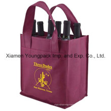 Promotional Burgundy Reusable Shop Cloth Wine Bottle Bag