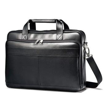 Custom Durable Luggage Leather Slim Black Briefcase Bag