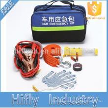 Kit de seguridad de emergencia del coche martillo de seguridad cuerda de remolque guantes de punto cinta eléctrica cable de la batería reflexivo portátil