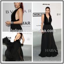 Sexy Black Deep Neck Designs Boden Länge Custom Make Red Teppich Feier Kleider RD006 lange Kleid Abend Berühmtheit
