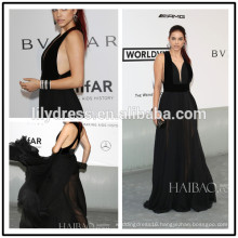 Sexy Black Deep Neck Designs Floor Length Custom Make Red Carpet Celebration Dresses RD006 long dress evening celebrity