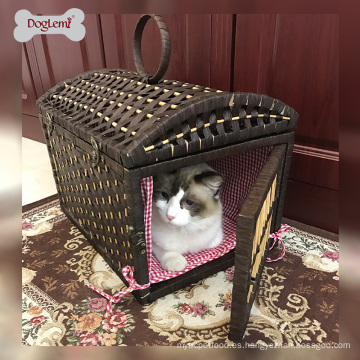 Doglemi Soft Nature Pet Crate Cat House Handle Cave Casa de mascotas