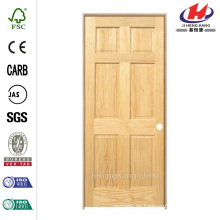 30 in. X 80 in. Pro Colección de 6 paneles sólidos de pino de un solo prehung puerta interior