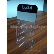 Sunglass minorista tienda de acrílico con barra de aluminio, de mesa Pos visualización gafas de sol acrílico