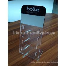 Sunglass Retail Store Acrílico Display Rack com haste de alumínio, Tabletop Pos Display Óculos de sol Acrílico