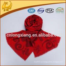 Estilo clássico de cor vermelha padrão de jacquard moda cachecol 100% viscosa