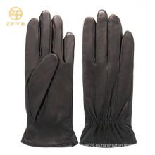 Señora vestido lampskin corto negro espuma guantes