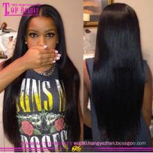 Cheap virgin brazilian silk top full lace wig PU headband human hair wigs