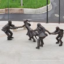 Métal moulage enfants sculpture grand bronze extérieur garçon enfant statues à vendre