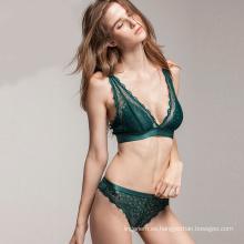 Nueva Sexy Sexy pesta pestañas Set Deep-V pluma Lace Sheer Green Sexy Lingerie