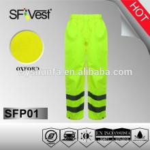 Pantalones impermeables recubiertos de PVC con tejido oxford 300D, EN ISO 20471