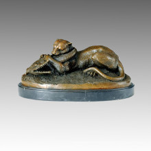 Animal Bronze Sculpture Tiger Devouring a Crocodile Brass Statue Tpal-069