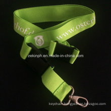 Thin Plant PP Webbing Polyester Lanyard with Simple Logo Imprinted