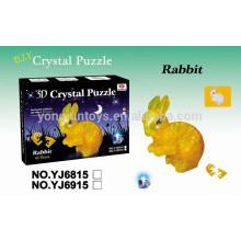 Conejo 42PCS del rompecabezas del cristal 3D de Yongjun DIY CON LA LUZ