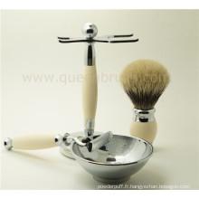 Luxueux kit de brosse à coiffe en silicone haute qualité pour hommes avec les meilleurs cheveux Badger