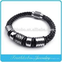 Мода Винтаж веревка поделки передачи бусины кожаные браслеты для женщин оптом черный Guninue кожаные браслеты